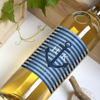 Anchor Initials Wedding Wine Bottle Labels