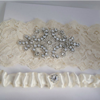Set of Lace Garter with Rhinestone Applique and Satin Toss Garter