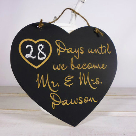 Personalized Wedding Countdown Chalkboard Sign