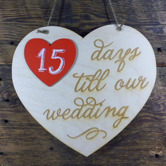Wedding Countdown Chalkboard Sign w/ red heart