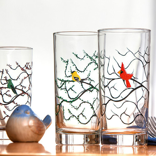 Seasonal Bird Glasses
