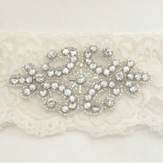 Ivory Lace Garter with Rhinestone Applique