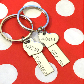 Heart Bar Personalized Keychains - Set of 2