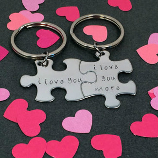 I Love You More Puzzle Piece Keychains