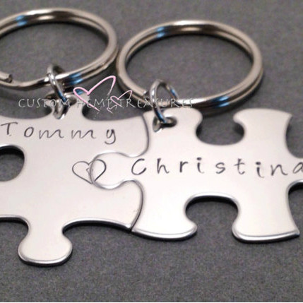 Personalized Couples Keychains w/ Connecting Heart