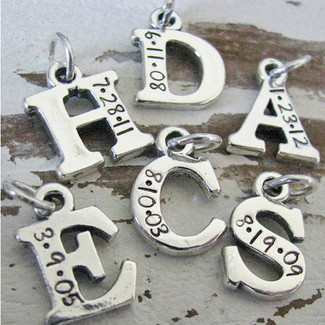 Silver Initial Charm with Wedding Date