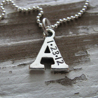 Personalized Initial Necklace with Wedding Date