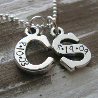 Personalized Two Initial Necklace with Wedding Date