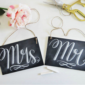 Mr. & Mrs. Chalkboard Wedding Signs