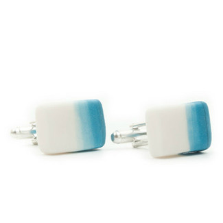 Ombre Porcelain Ceramic White and Sky Blue Cufflinks