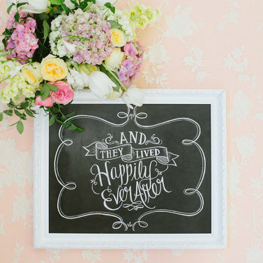 And They Lived Happily Ever After - Chalkboard Print