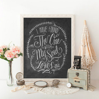 Song Of Solomon 3:4 - Chalkboard Wedding Art