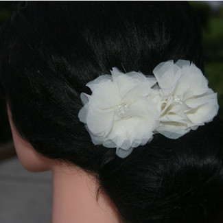 Ivory Bobby Pin Flowers in Organza and Rhinestone - Set of 2