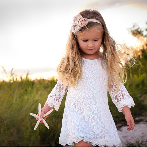The Chloe Lace Flower Girl Dress - White - MyWedStyle.com