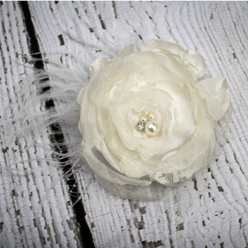 The Ophelia Bridal Satin and Lace Hair Flower