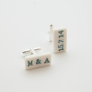 White Engraved Stamped Porcelain Cufflinks
