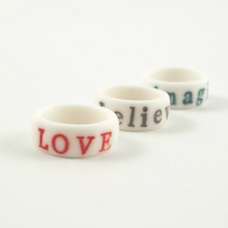 Engraved Stamped Porcelain Ring.