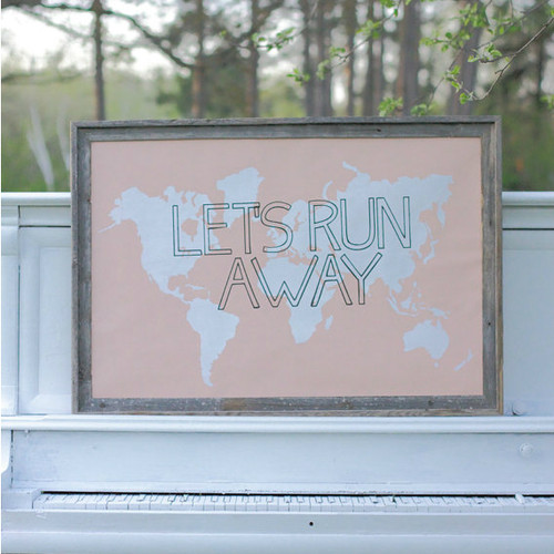 Let's Run Away Giant World Map Print  - Peach Champagne Pink
