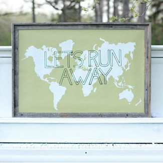 Let's Run Away Giant World Map Print  - Sage and White