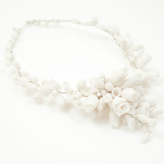 White Roses Porcelain Sterling Silver Bridal Necklace