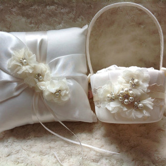 Flower Girl Basket and Ring Bearer Pillow Set