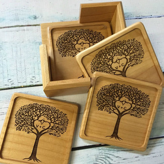 Personalized Tree Wood Coaster Set