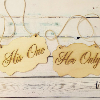 His One Her Only Wedding Chair Signs