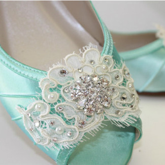 Handmade Lace Wedge Wedding Shoe