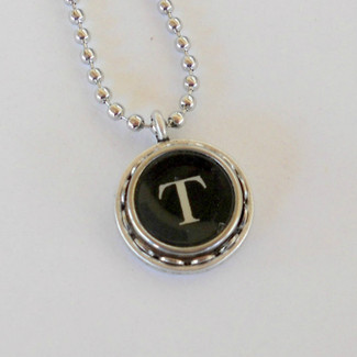 Initial Typewriter Key Necklace