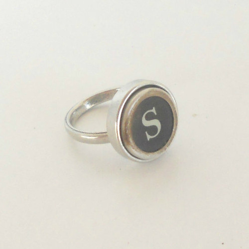 Typewriter Key Pewter Ring