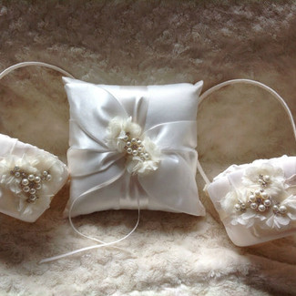 Two Flower Girl Baskets and Ring Bearer Pillow Set