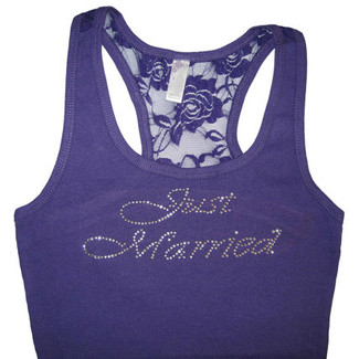 Just Married - Bridal Lace Tank Top