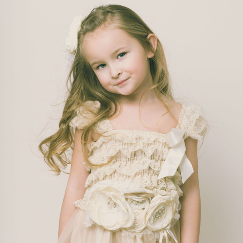 The Eloise Flower Girl Dress in Vintage Beige