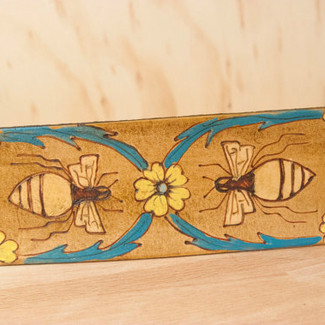 Bees and Flowers Leather Guitar Strap Melissa Pattern