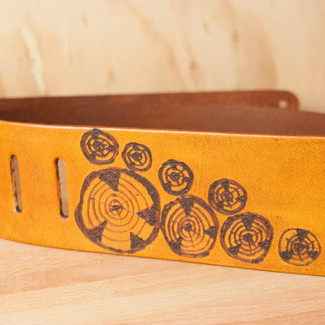 Leather Guitar Strap Faux Bois Pattern