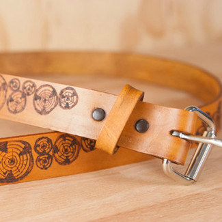 Skinny Leather Belt Faux Bois Pattern