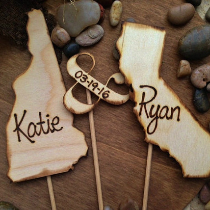 Your States Wedding Cake Topper w/ names