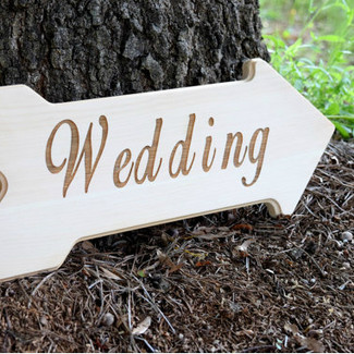 Wedding This Way Wood Sign