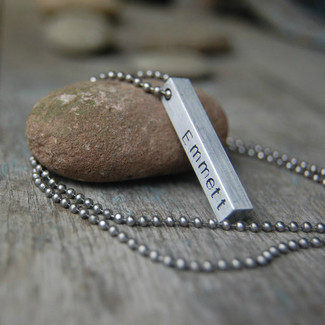 Personalized Mens Bar Necklace