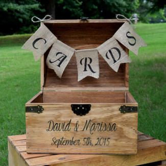 Large Shabby Chic and Rustic Wooden Card Box