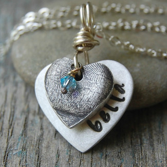 Custom Silver Fingerprint Heart