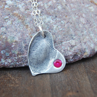 Custom Fingerprint Heart with Birthstone Inset