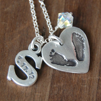 Custom Silver Footprint and Hand-Stamped Initial Necklace