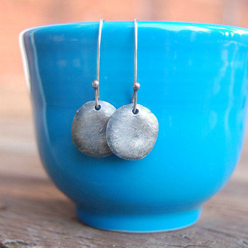 Custom Silver Fingerprint Earrings