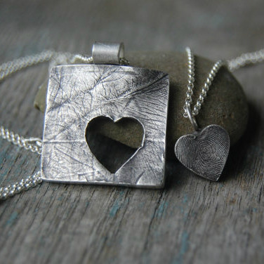 Mother and Daughter Fingerprint Necklace