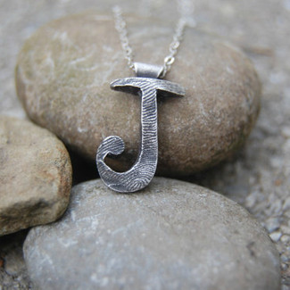 Custom Fingerprint Initial Necklace