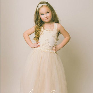 The Evangeline Flower Girl Dress in Blush