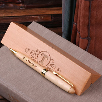 Personalized Wood Desktop Pen Set