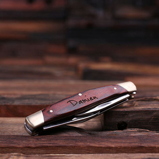 Personalized Wood Engraved 3 Blade Pocket Knife
