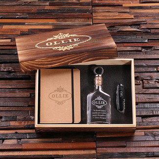 Personalized 4 pc Men's Gift Set w/ Keepsake Box – Flask, Pocket Knife, Journal